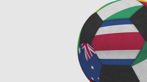 Football ball featuring different national teams accents flag of Costa Rica. 3D Fotografía