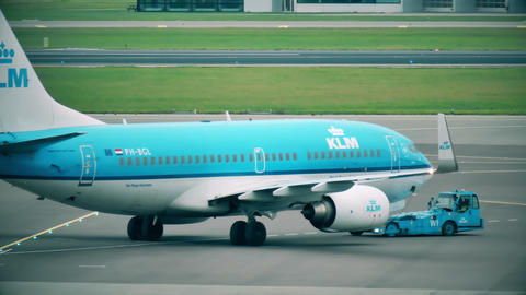 AMSTERDAM, NETHERLANDS - DECEMBER 25, 2017. KLM Boeing 737 commercial airplane Footage