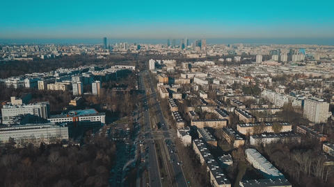 Aerial view of Warsaw skyline on a sunny winter day, Poland Footage