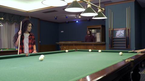 Expressive brunette play billiard Footage