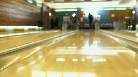 People plays bowling, shooting from bowling alley Footage