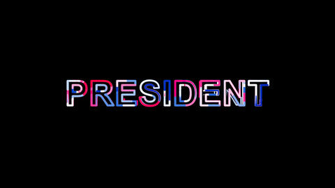 Letters are collected in text PRESIDENT, then scattered into strips. Bright Animation