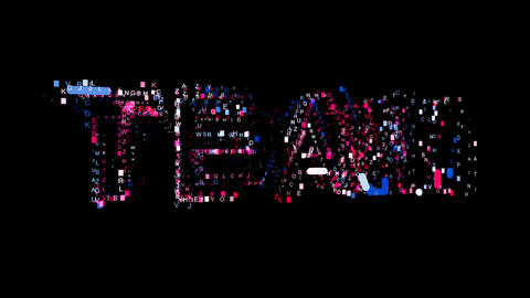Letters are collected in text TEAM, then scattered into strips. Bright colors Animation