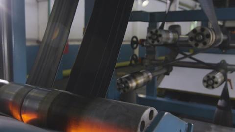 Rubber Bands Pass Between Rollers Mechanism Closeup Footage