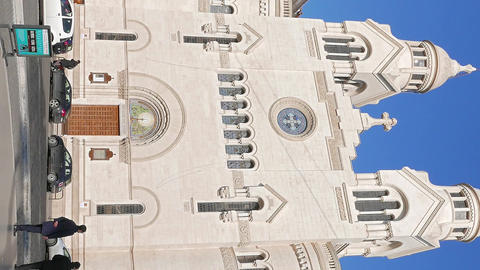Vertical video. Valdese Evangelical church at Piazza Cavour. church was founded Footage