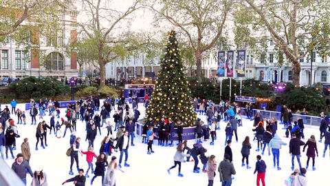 Xmas Ice Rink Natural History Museum Stock Video Footage