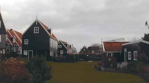 Houses in traditional Dutch village Marken in Holland Footage