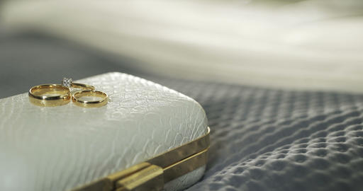 Wedding Rings in Decorated Box 4K Archivo