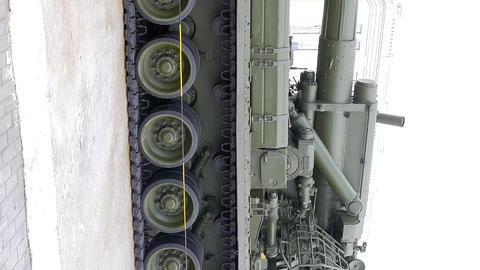 Vertical video. Soviet self-propelled artillery SAU -2S7 PEONY model 1970. Footage