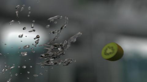 Water Splashing Sliced Kiwi (With Background) Footage
