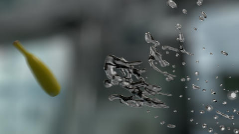 Water Splashing Banana (With Background) GIF