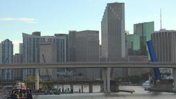 USA Florida Miami skyline of downtown and the Port Bridge seen from water Footage