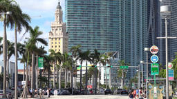 USA Florida Miami downtown Park West skyscraper and Freedom Tower ビデオ