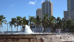 USA Florida Miami Bayfront Park view from Pepper Fountain to Brickell Key Footage