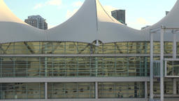 USA Florida Port Miami mirror image of cruise vessel in glass facade of terminal Filmmaterial