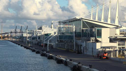 USA Florida Port of Miami the moorings in cruise harbor are all empty Footage