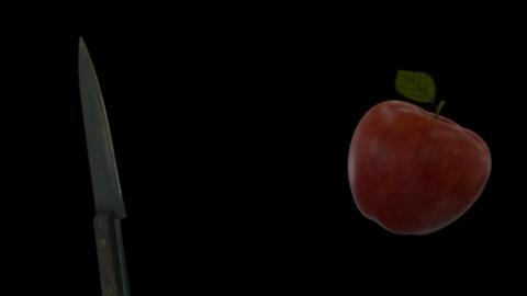 Knife Slicing Apple (On Transparent Background) Footage