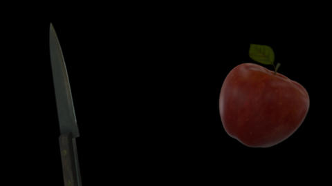 Knife Slicing Apple (On Transparent Background) Acción en vivo