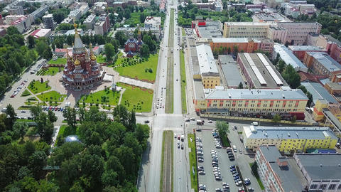 Cathedral of the Holy Archangel Michael. Izhevsk, Russia. Panorama of the city, Footage