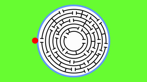 Animated maze. The red object comes to the middle of the maze and changes into Image