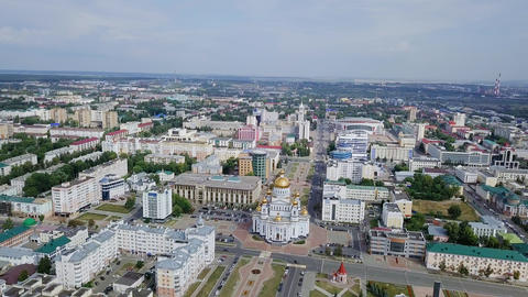 Cathedral of St righteous warrior Feodor Ushakov. Saransk, Russia. Beautiful Footage
