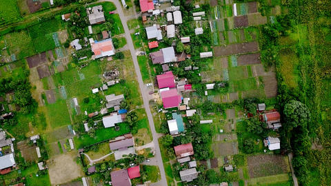 Gardens, low-rise buildings in Saransk. Aerial view. Russia, From Dron, HEAD Footage