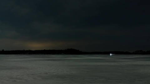 Night-time ice sailing lights time-lapse shot Footage