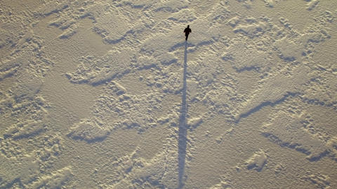 Man walking at frozen lake, aerial locked-down shot Footage