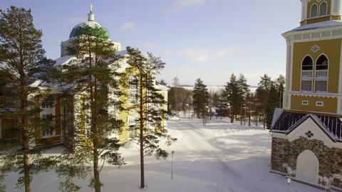 Kerimaki wooden church in winter Live Action