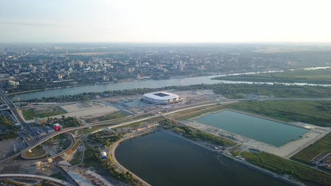 Panoramic view of the central part of Rostov-on-Don. Stadium, the river Don. Footage