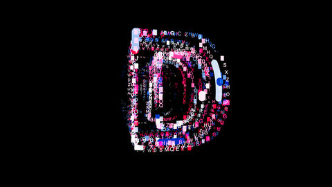 Letters are collected in latin letter D, then scattered into strips. Bright Animation