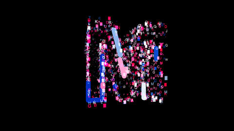 Letters are collected in latin letter M, then scattered into strips. Bright Animation