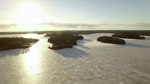 Sunset islands at a Nordic lake in spring Footage