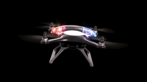 Police quadcopter on a green background Animation