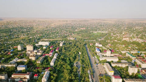 Panoramic view of the city of Elista, Kalmykia, Russia, From Dron Image