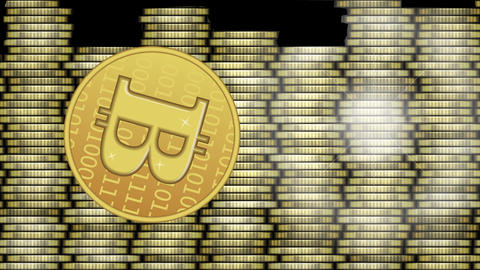 Bitcoin animation, golden cryptocurrency coin symbol... Stock Video Footage