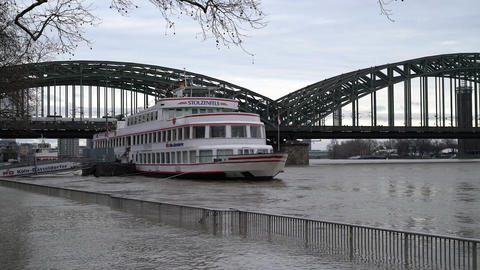 Flood on Rhine river, Cologne, Germany Footage