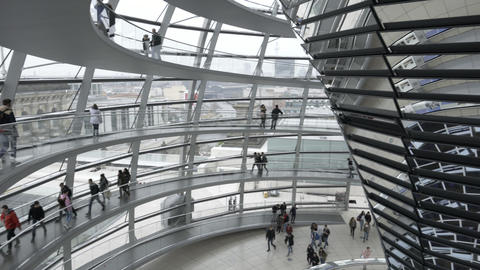 Interior of German Reichstag Parliament glass structure building Footage
