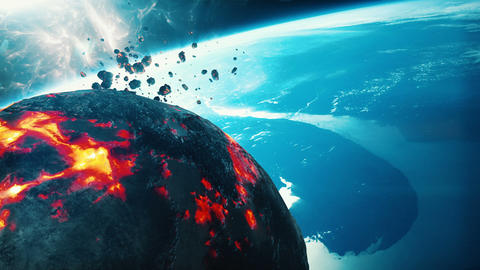 Burning asteroid approaching earth Animation