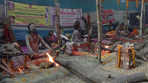 Gathering of Indian Hindu sadhus Footage