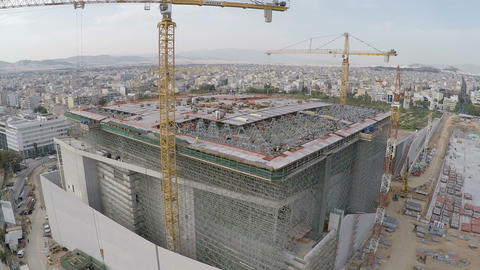Construction of Stavros Niarchos Foundation Cultural Center Footage