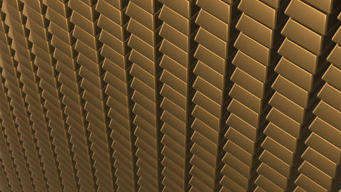 The camera pans through the rows of gold bars. business background. seamless Footage