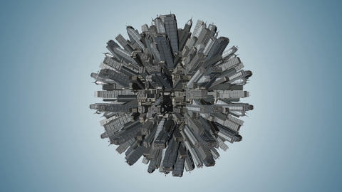 Smooth animation of globe rotating with abstract city. Blue tint. Seamless loop Footage
