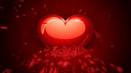 Happy Valentine`s Heart animation, made of rose petals CG動画素材