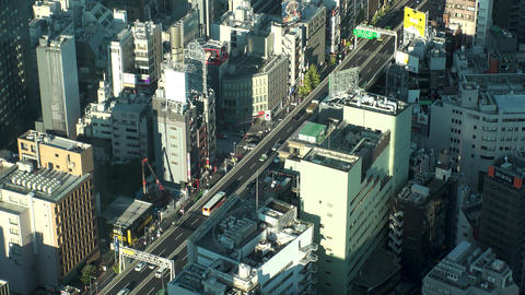 Japan Tokyo Highway and road crossing at Roppongi crossing area view from above Live Action