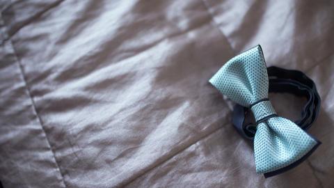 WEDDING - Black bowtie on table Footage