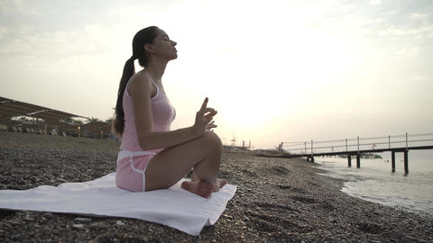 The girl at the sea relaxes Footage