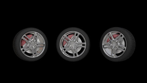 four automobile wheels rush on the road with high speed Image