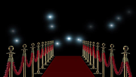 Red carpet on the background of camera flashes Image