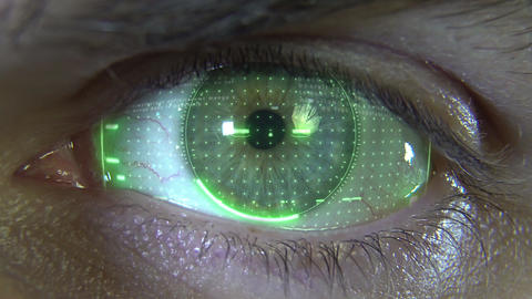 Close-up eye with green hologram Animation